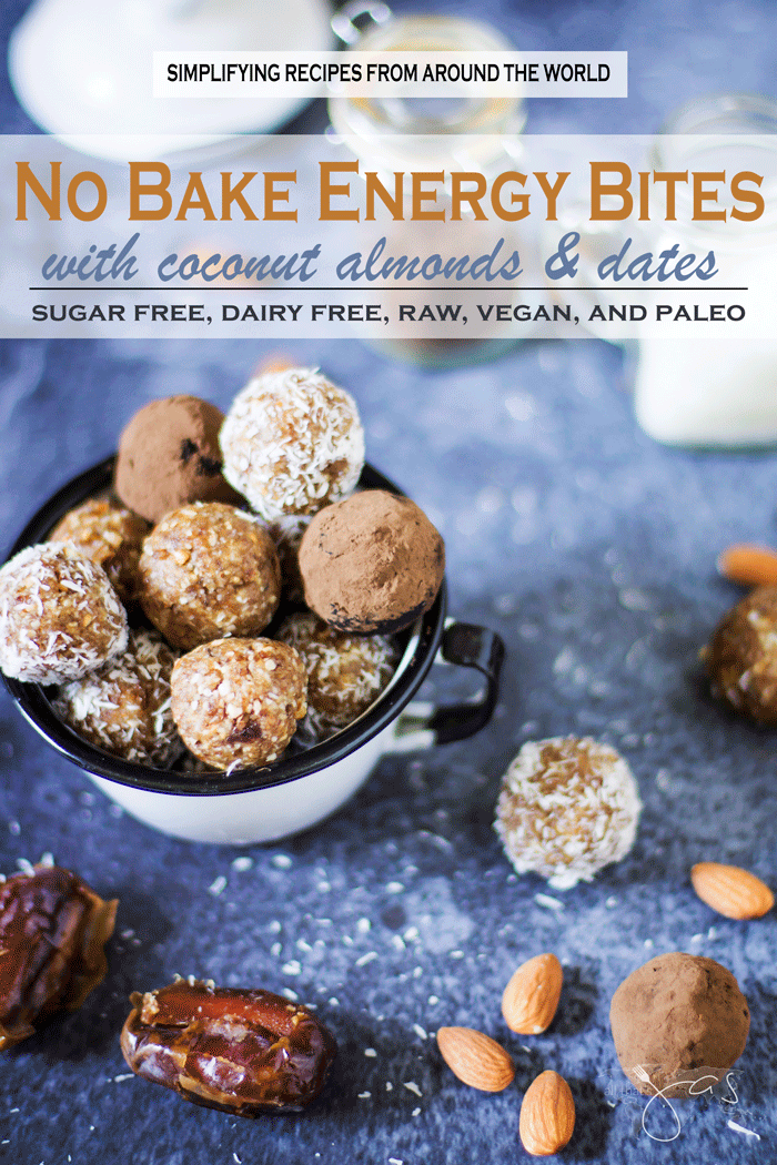 Sugar and gluten free energy bites with coconut, almonds, and dates are perfect naturally sweet snack.