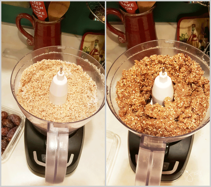 Mixing nuts, coconut, and dates for no bake energy bites