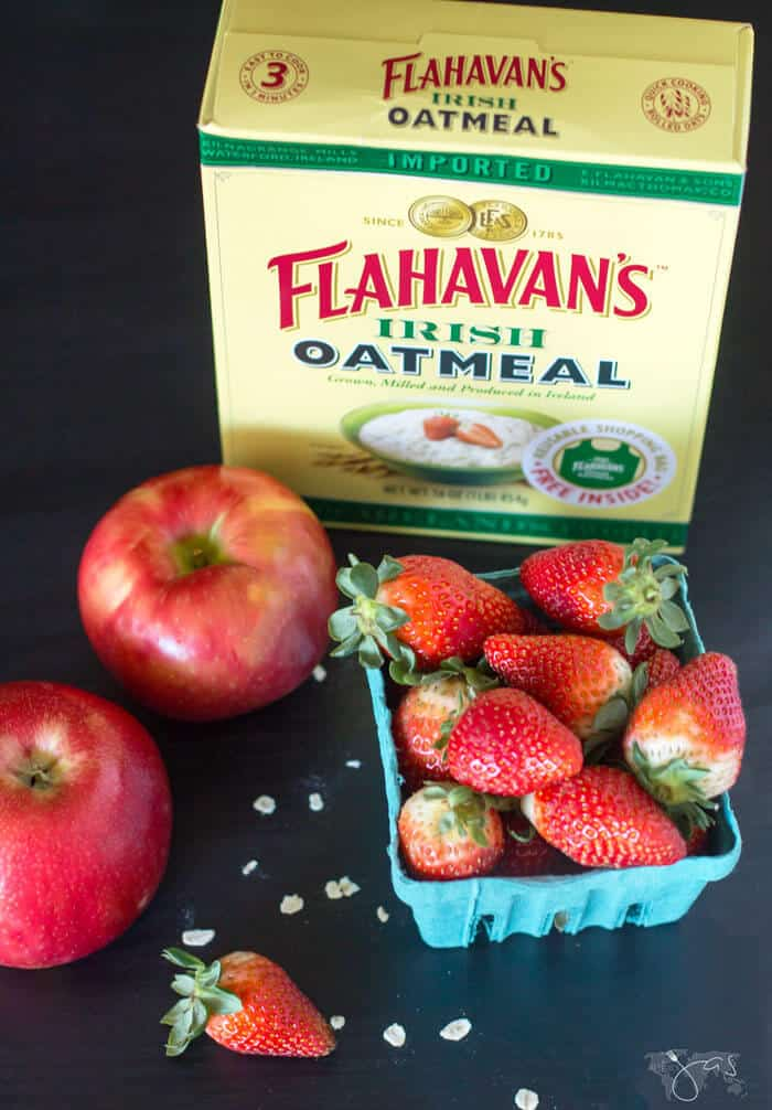 Ingredients for strawberry oatmeal cake