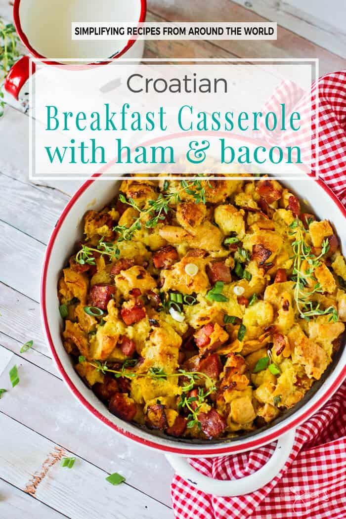 This breakfast casserole dish has ham and bacon in it.