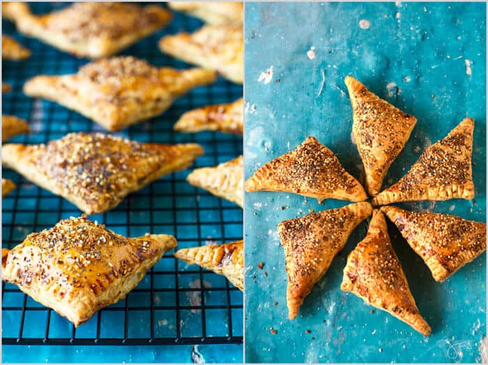 triangle shaped pastries - Everything bagel cheese borekas from Israel