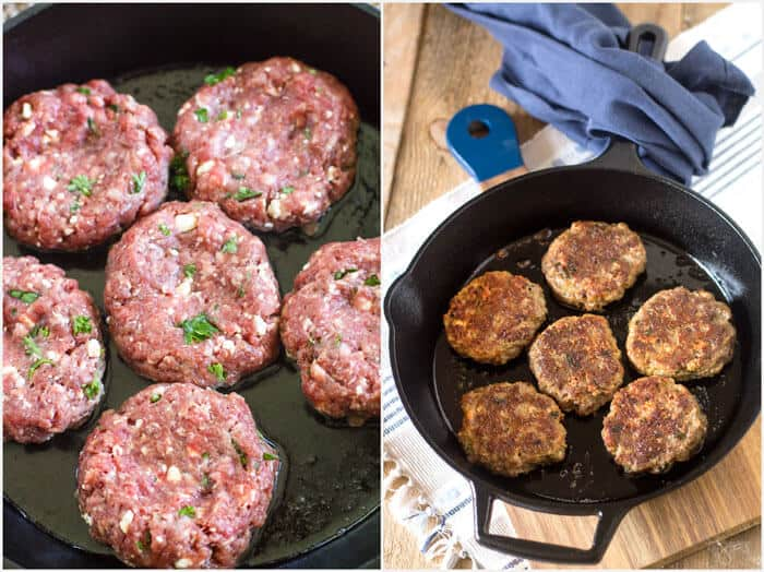 making rissoles with feta and ajvar gravy