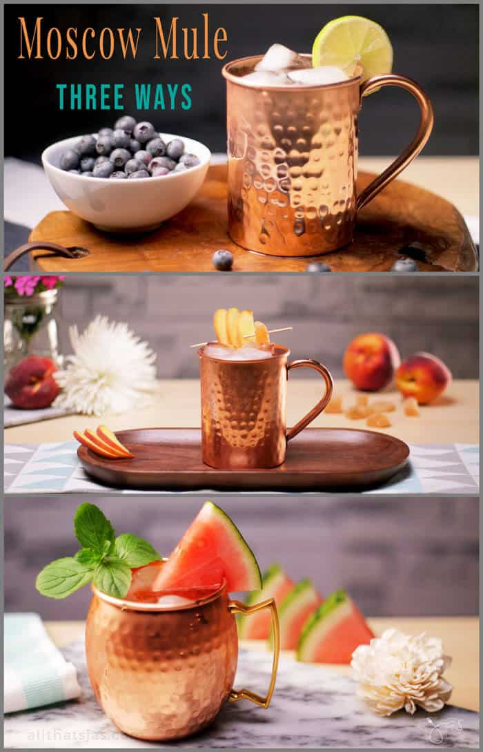 Moscow Mule - Three Ways. Great summery tastes of Moscow Mules: blueberry, peach, and watermelon. Infinitely variable, stunningly sweet, and total refreshment in a glass. | allthatsjas.com | #moscowmule #beverage #drink #cocktail #summerdrink #refreshment #recipe