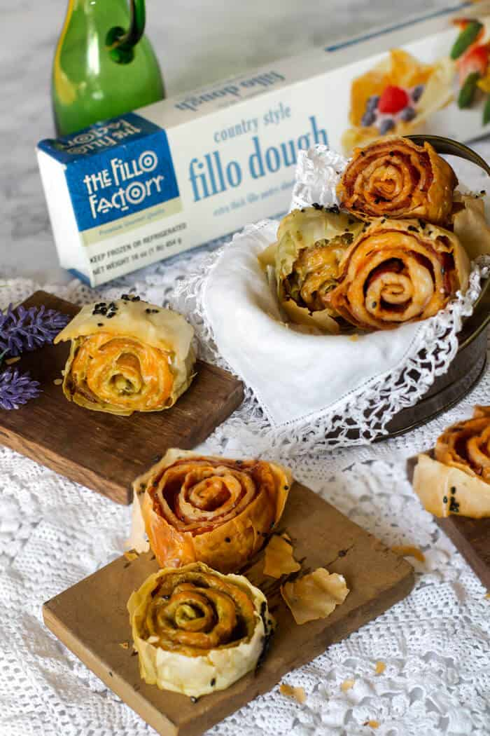 Fillo Factory filo dough and ham or turkey cheese filling twice baked