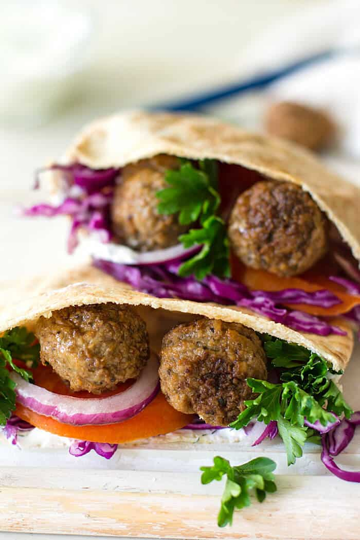 Delicious recipe for meatball stuffed pitas, Greek-style.