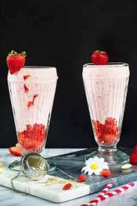 Strawberry Lassi Yogurt Smoothie Recipe   allthatsjas.com  