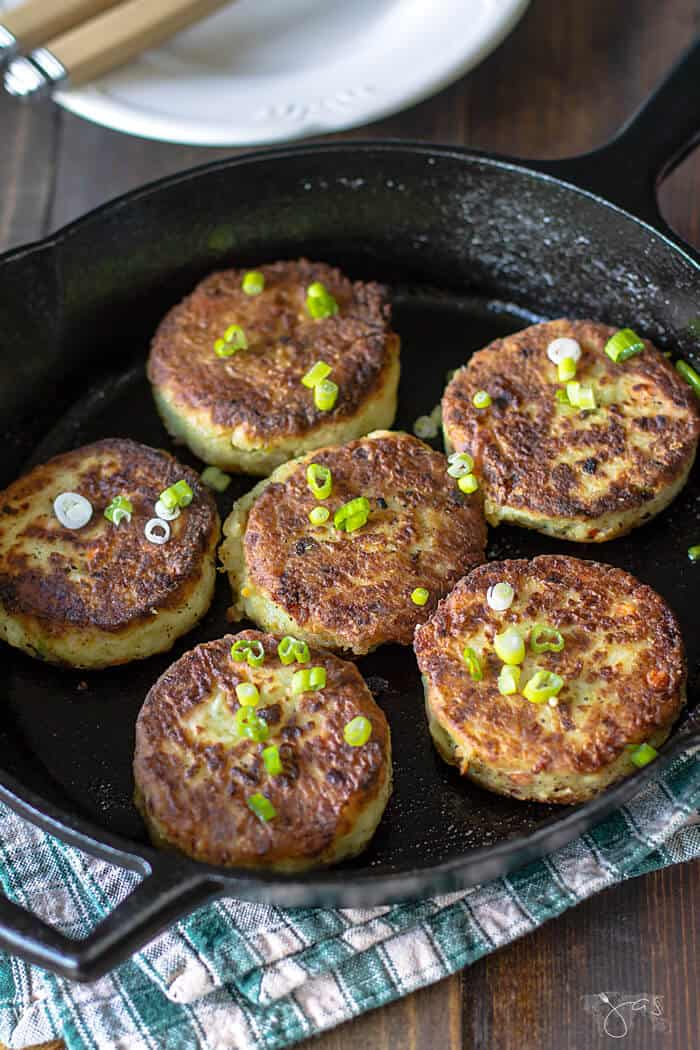 Fried potato and cabbage cakes aka bubble and squeak.