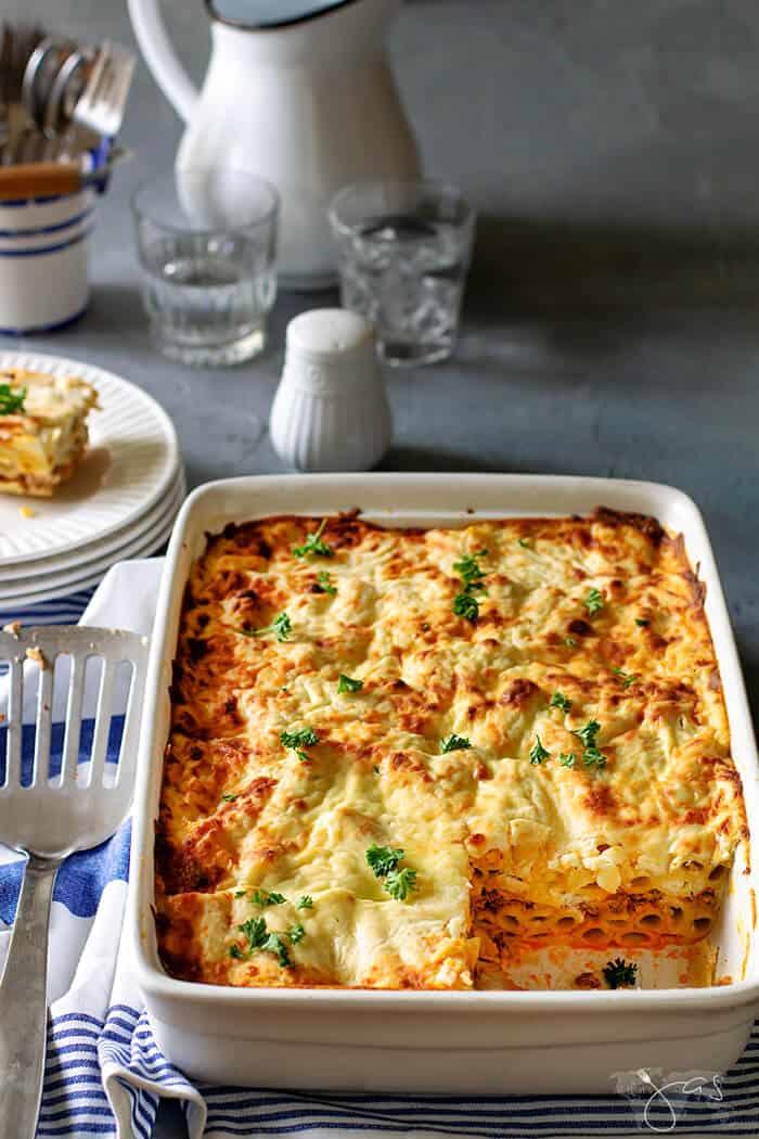 Baked pasta casserole Greek style, aka Pastitsio with lamb