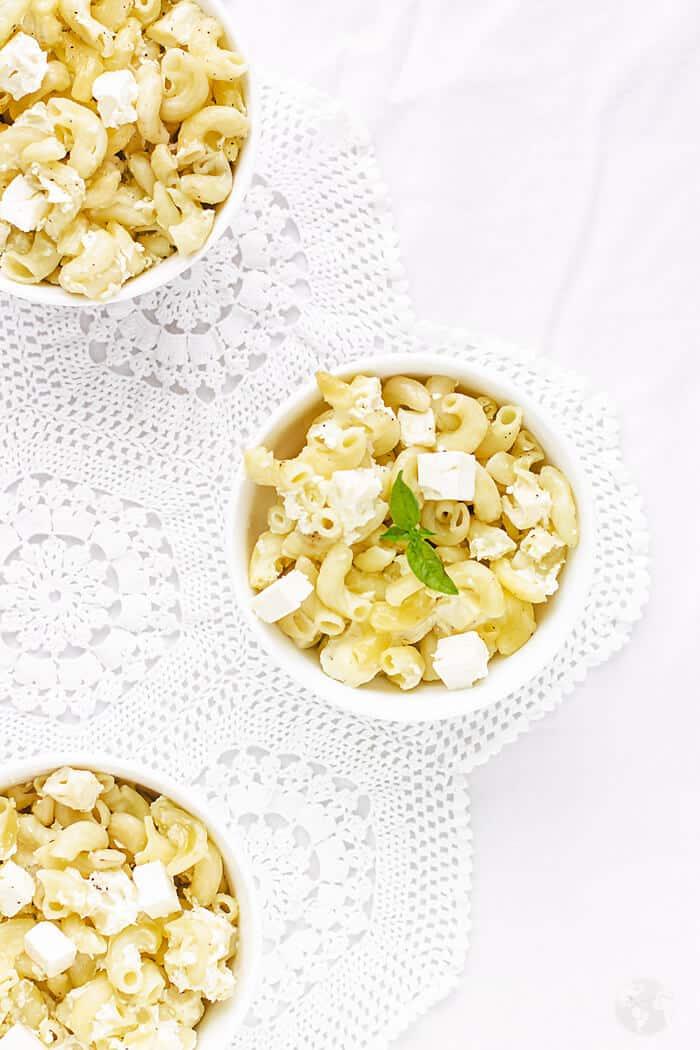 Servings of Mediterranean-style feta mac and cheese