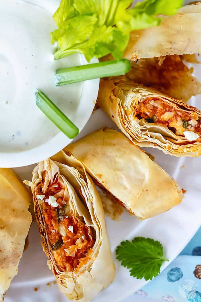 Dip fillo stromboli with BBQ and buffalo spicy chicken intoo ranch or blue cheese sauce.