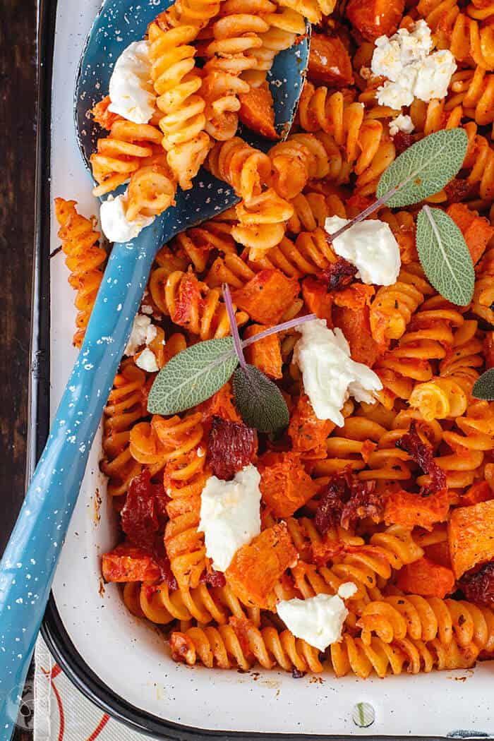 Comfort food from France, this fusilli pasta bake with pumpkin and goat cheese is extraordinary and perfect for holidays.
