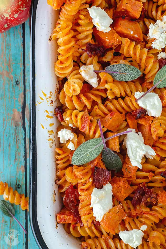 Easy to make delicious Pumpkin and Goat Cheese Fusilli Pasta Bake