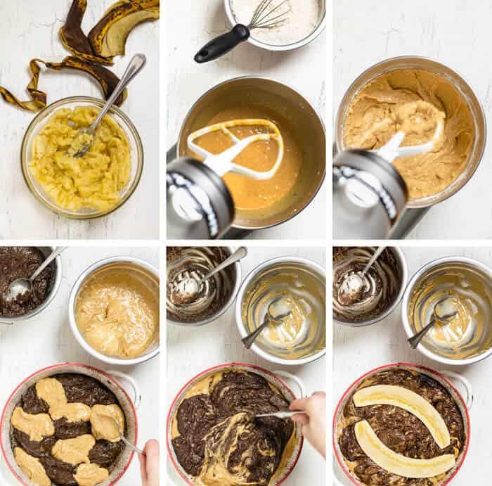 Six steps of making chocolate banana bread.