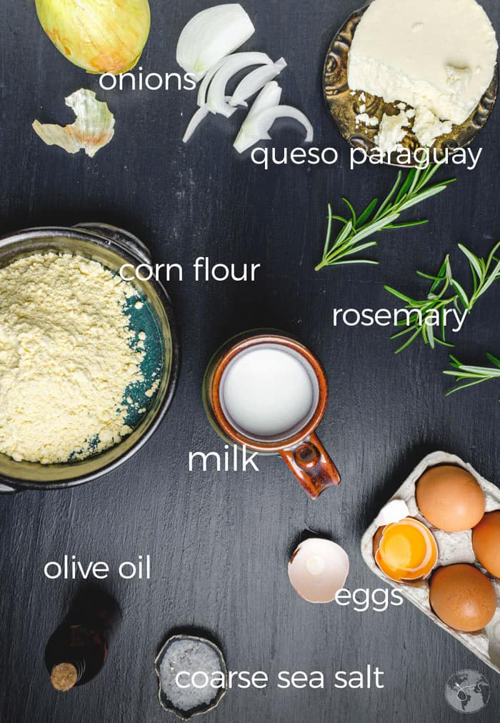 Ingredients for making cheese and onion cornbread from Paraguay