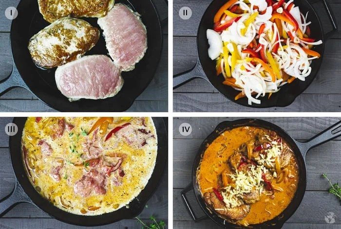 Steps to making skillet Gypsy cutlets