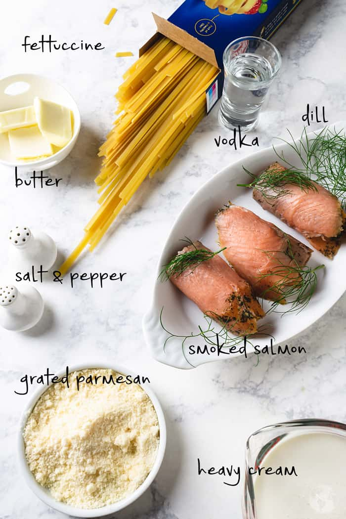 Ingredients for fettuccine with smoked salmon