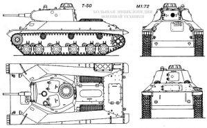 Общий вид легкого танка Т-50