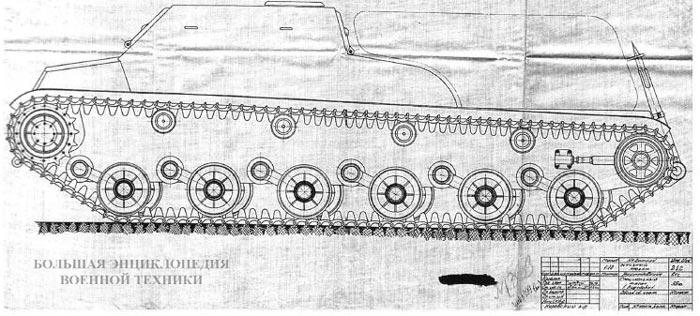 Заводские чертежи 35-тонного тягача «обьект 212», общий вид и разрез. На оригиналах стоит дата «9 февраля года»
