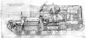 Разрез 152-мм самоходной установки объект 212А с орудием Бр-2. Копия заводского чертежа.
