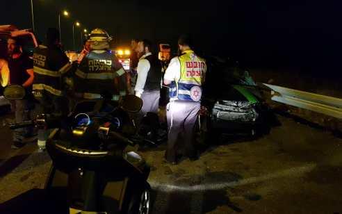פצוע קשה ובינוני בתהפכות רכב בכביש 31 סמוך לצומת שוקת