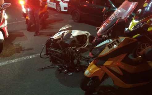 רוכב אופנוע נפצע אנוש בתאונה בתל אביב