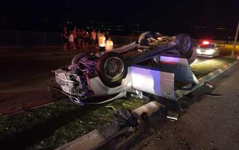 פצוע קשה פונה במסוק לאחר שהתהפך עם רכבו בטבריה