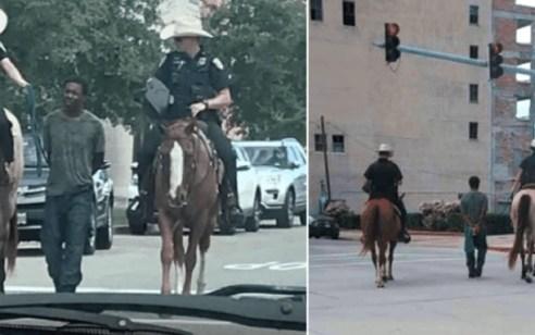 """תיעוד שמזעזע את ארה""""ב: שוטרים על סוסים מוליכים בחבל גבר שחור אזוק"""