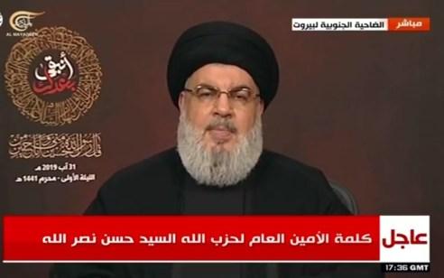 """נסראללה: """"התגובה לתקיפות ישראל יכולה להגיע מכל מקום בלבנון"""""""