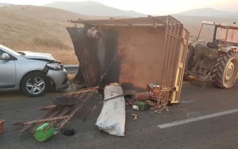 תינוקת בת חצי שנה נהרגה ו-8 נפצעו בתאונה בין טרקטור לרכב פרטי בבקעה