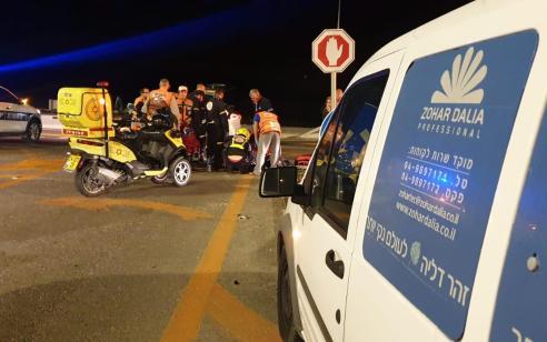 יקנעם: פצוע בינוני ופצוע קל בתאונה בכניסה המערבית