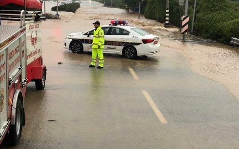 בעקבות הצפות: כבישים רבים נחסמו ברחבי הארץ