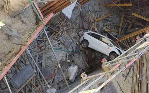 בית שמש: נהג הדרדר עם רכבו 4 קומות ונפצע קל   תיעוד
