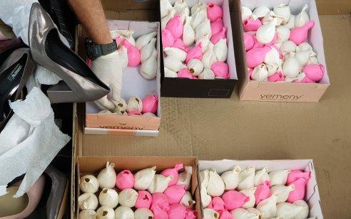 """הוסלקו בתוך נעליים: כ-20 אלף טבליות סם מסוג """"קפטגון"""" נתפסו במעבר כרם שלום"""