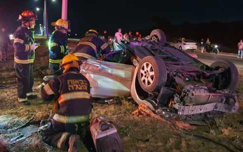 גבר ואישה נפצעו קשה כתוצאה מרכב שהתהפך באשקלון