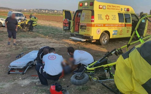 גבר בן 44 נפצע בינוני ואישה בת 74 קל בהתרסקות טרקטורון מעופף בקרית ביאליק