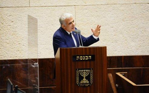 """ראש האופוזיציה לפיד: """"בשבוע הבא נעלה להצבעה חוק לפיזור הכנסת, הגיע הזמןלבחירות"""""""