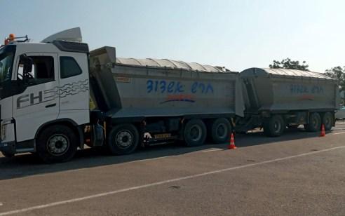 משאית הושבתה למשך 30 ימים לאחר שהנהג נתפס מוביל מטען עם חריגה של 47% מהמותר