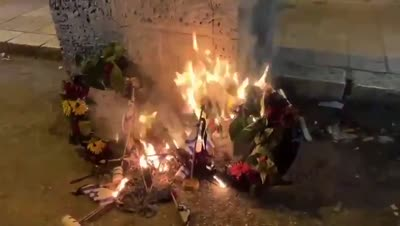 תיעוד מכעיס: קיצוניים ממאה שערים שרפו זרים ודגלים שהונחו על קברי חללים