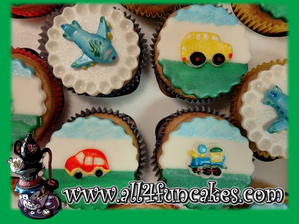 2D Flat Hand-Painted Fondant Planes Trains Buses and Automobiles Cupcake Toppers by All4Fun Cakes