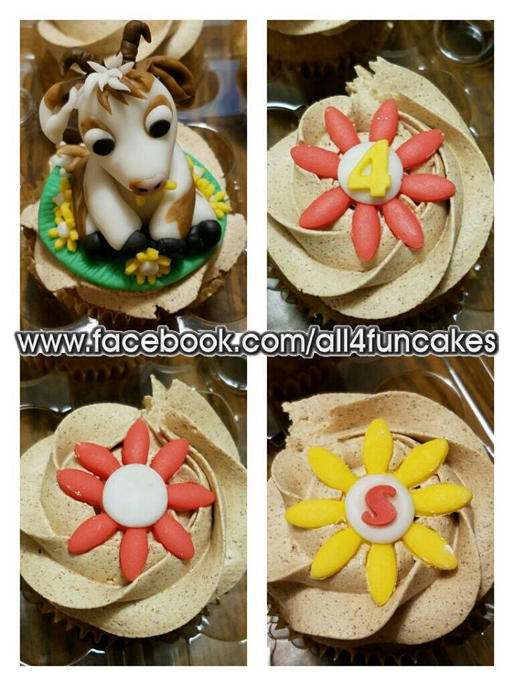 3D Sculpted Fondant Baby Goat Cupcake Topper and 2D Fondant Flower Cupcake Toppers by All4Fun Cakes