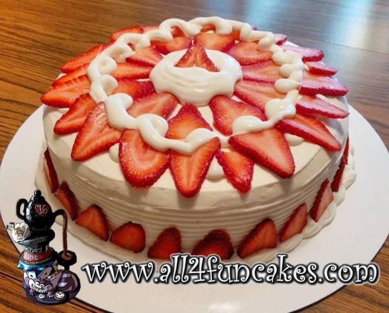 Fresh Strawberry and Cream Cheese Buttercream Dessert Cake by All4Fun Cakes