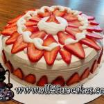 Birthday Anniversary Holiday Party Fresh Strawberry and Cream Cheese Buttercream Dessert Cake by All4Fun Cakes LLC