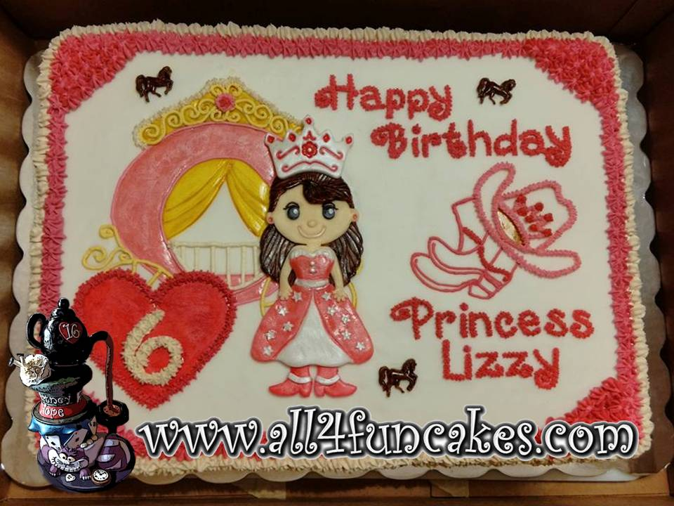 Cowgirl Princess Crown Carriage Birthday Sheet Cake by All4Fun Cakes LLC