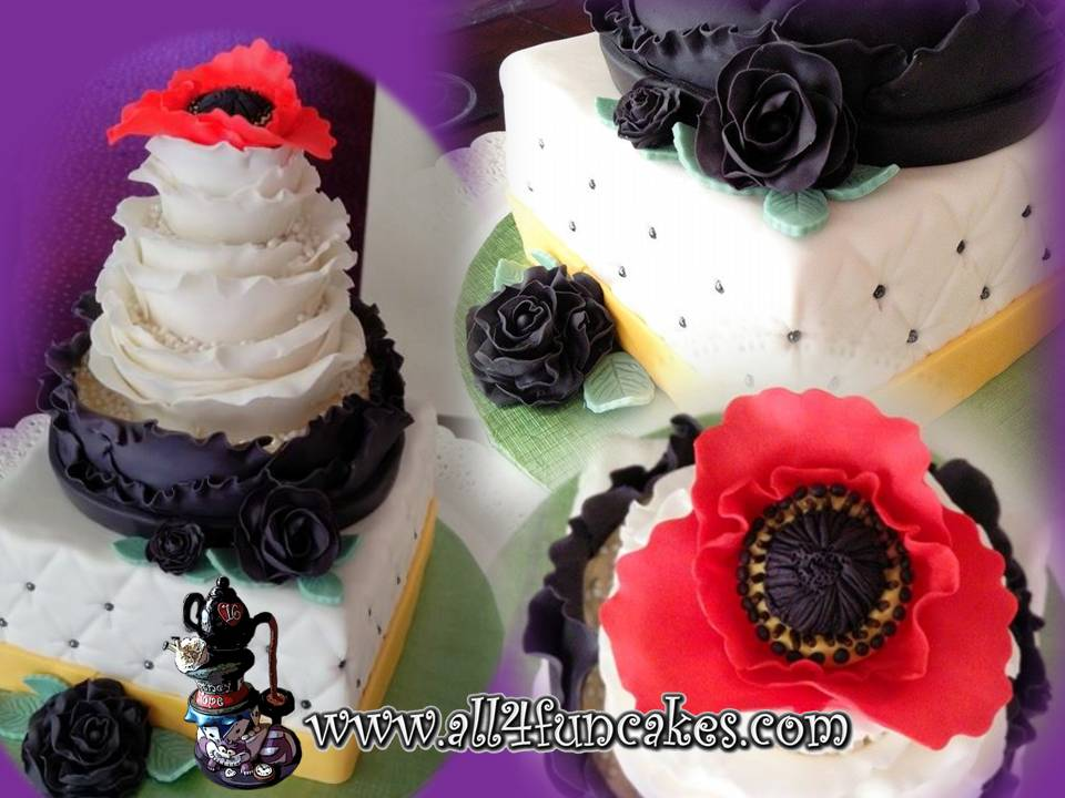 Ruffles and Quilt Pattern Wedding Cake with Red Poppy and Black Roses by All4Fun Cakes