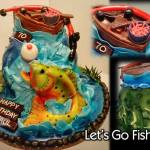 Sculpted Fishing Birthday Cake with Boat and Huge Fish by All4Fun Cakes LLC