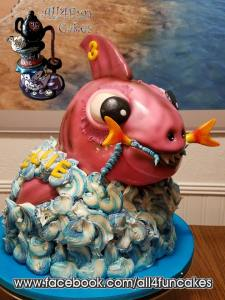 Sculpted Pink Tiger Shark Birthday Cake by All4Fun Cakes