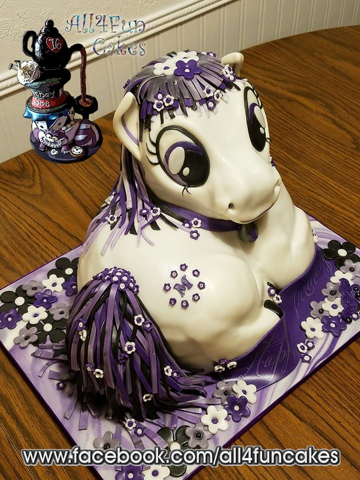 Sculpted Purple Pony Birthday Cake by All4Fun Cakes LLC