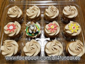Sugar Free Snickerdoodle Cupcakes with Fondant Goat and and Flower Toppers by All4Fun Cakes