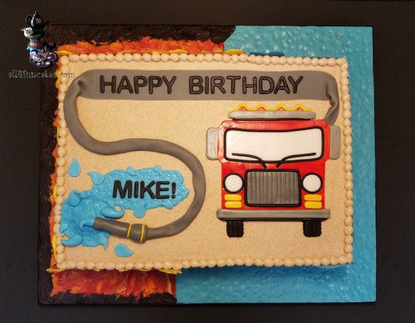 Fire Fighting Engine Truck Hose Birthday Cake for Gladstone Fire Department by All4Fun Cakes