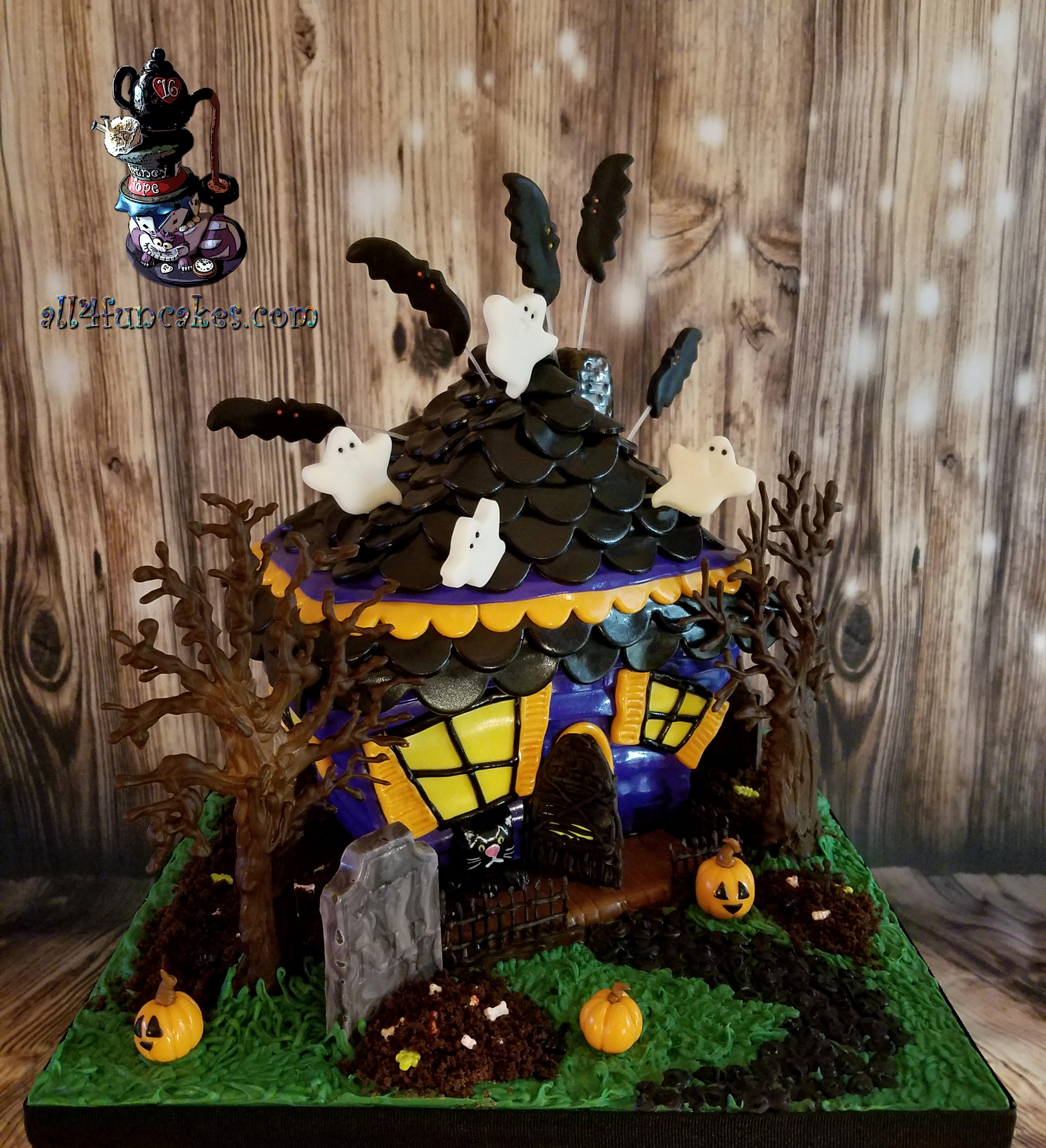 Admirable Haunted House Sculpted Birthday Cake By All4Fun Cakes All4Fun Personalised Birthday Cards Epsylily Jamesorg